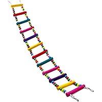 Tenchif Colorido escalera de juguete de aves, escaleras flexibles Puente de madera de arco iris para los loros Entrenamiento de mascotas 12 pasos