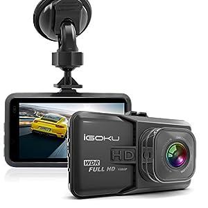 Dashcam HD AutoKamera, iGOKU 3.0″ LCD 1080P Full HD Autokamera Infrarotfunktion DVR mit 170°A + Weitwinkelobjektiv, Bewegungserkennung, G-Sensor, WDR, Parkschutz , Loop Recording, 24h Überwachung