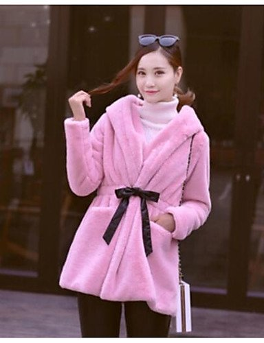 Xuanku Women's Casual/Daily Simple Winter Fur Coat,Solid V Neck Long Sleeve Regular Cotton Fur Trim