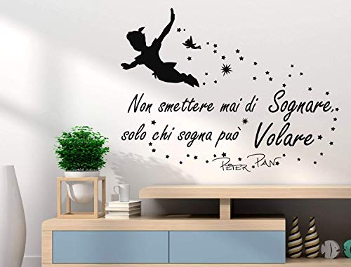 Adesivi Muro Frasi Peter Pan Non smettere mai di sognare Solo chi sogna può  Volare Citazione Wall Sticker Adesivi Murali Camera da letto Frasi Amore ...