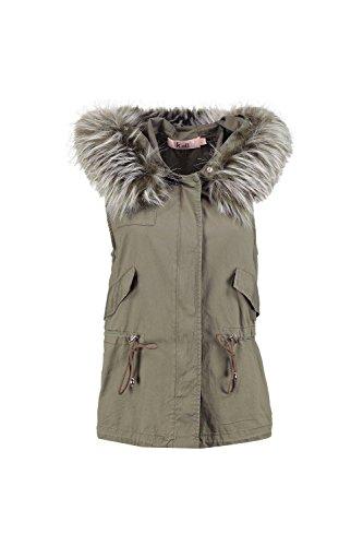 Kaki Femmes Beth Boutique Faux Fur Hood Gilet Kaki