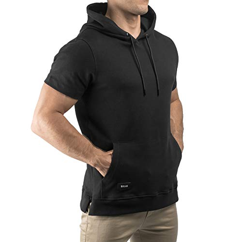 Sixlab Short Sleeve Kurzärmeliger Hoodie Kurzarm Kapuzenpullover Gym Fitness (XL, Schwarz) Super Dry Zip Hoody