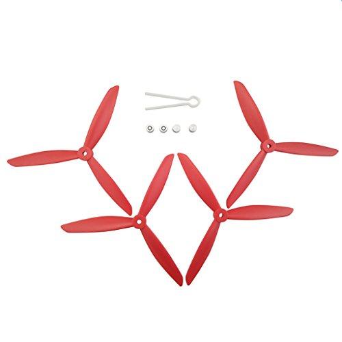 Fytoo 4pcs Hélice CW/CCW 3-Láminas Propulsor Propeller para mjx B3 B3H BUGS 3H B2 B2C B2W F18 D80 Bugs 3 Bugs 2 F17 F100 RC Hubsan H501S H501A H501C H501M H501S W H501S pro Quadcopter RC Drone Accesorio - Roja