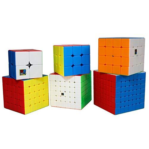 Gobus MoYu MoFangJiaoShi Speed Cube 2x2 3x3 4x4 5x5 6x6 7x7 Zauberwürfel Puzzle Cubes Set, Packung mit 6 Puzzle Cubes Collection Geschenkset (Stickerless) -
