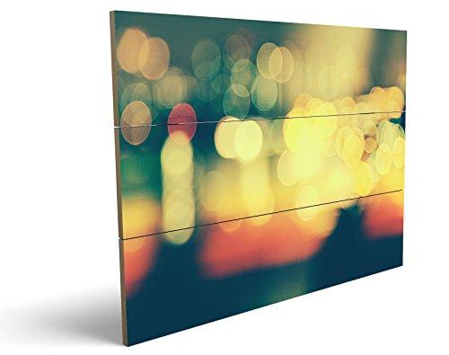 City Lights, qualitatives MDF-Holzbild im Drei-Brett-Design mit hochwertigem und ökologischem UV-Druck Format: 100x70cm, hervorragend als Wanddekoration für Ihr Büro oder Zimmer, ein Hingucker, kein Leinwand-Bild oder Gemälde