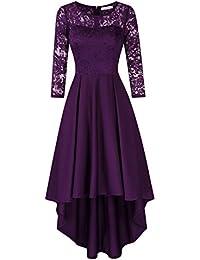 KOJOOIN Damen Kleider Brautjungfernkleider für Hochzeit Cocktail Abendkleider Unregelmässiges Kurzes Spitzenkleid (Verpackung MEHRWEG)