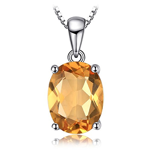 JewelryPalace Ovale 1.7ct Naturale Citrino Birthstone Solitario Pendente Collana Solido 925 Sterling Argento 45cm