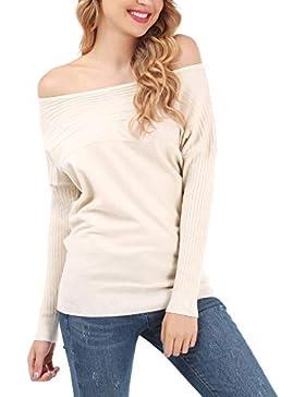 [Patrocinado]FISOUL Mujer Suéter Moda sin Hombro Jersey Casual Prendas de Punto Cuello Barco Manga Batwing Mangas Largas Camiseta...