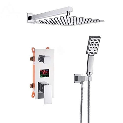 SHIJING Duscharmatur für das Badezimmer, digital, mit LCD-Display und 2-Wege-Mischbatterie, Mischbatterie für Badewanne und Dusche, 2 -