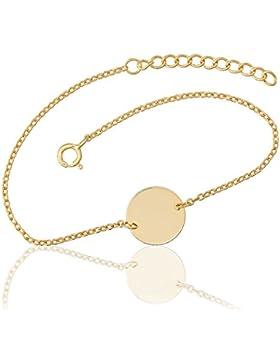 Juwelier Gelber 925 Silber Vergoldet Armband Gravur Platte Rund