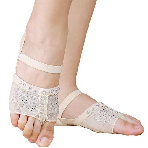 Calcifer Weiss/Schwarz Bauchnabel/Balletttanz-Socken Tanzsocken Zehenpolster Übungsschuhe Fuß-String Schutz, weiß, XL