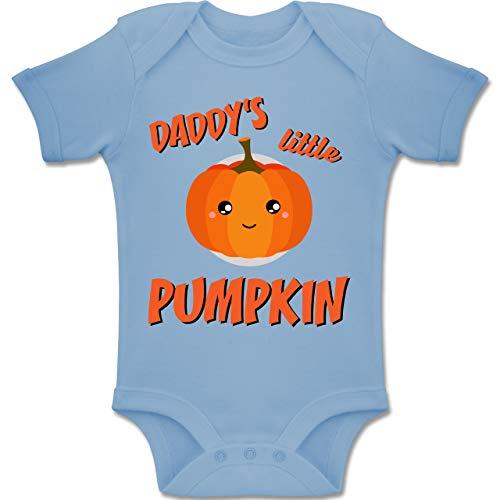 Anlässe Baby - Daddys Little Pumpkin Halloween - 6-12 Monate - Babyblau - BZ10 - Baby Body Kurzarm Jungen Mädchen
