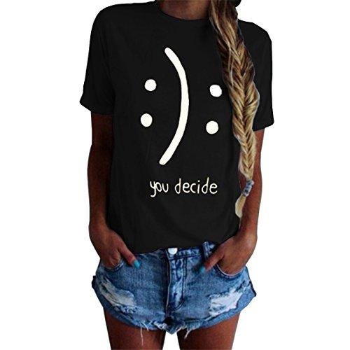 Blackmyth donna maniche corte cute maglietta lose girocollo casual tops signore baumwolle t-shirt nero medium