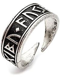 Anillo Miss - E - Jewels TM, de acero inoxidable, con runas vikingas, anillo de tamaño ajustable a talles 16 1/2,15 1…