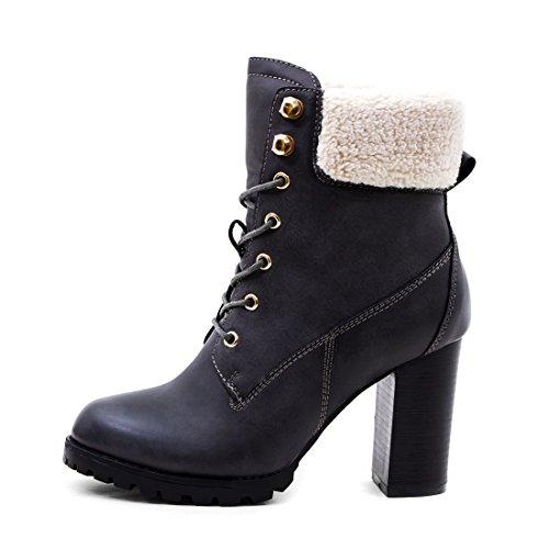 Marimo Damen Schnür Stiefel Stiefeletten Worker Boots mit Blockabsatz Grau