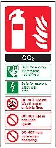vsafety 11004AC-R cartello estintore CO2, ID, plastica rigida, ritratto, 75mm x 200mm, colore: nero/verde/rosso