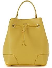 Borsa a secchiello Furla Stacy in pelle saffiano giallo senape