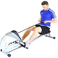 Charles Bentley Foldable Pulley Indoor Cardio Home Gym Rower Rowing Machine with Adjustable Straps LCD Display