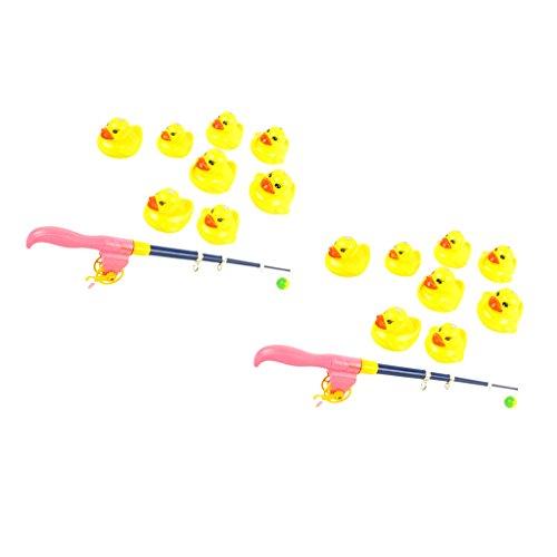 der Badespielzeug Angelspiel Pädagogisches Spielzeug, 2X Verstellbare Angelrute + 16x Enten Tiermodell ()