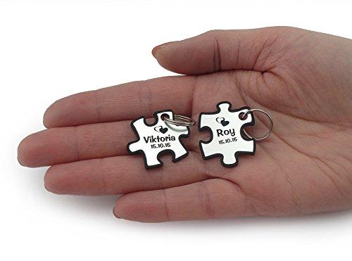 Wunderschöner Partner Puzzle Schlüsselanhänger Acryl Silber oder Gold inkl. Gravur Wunschname (silber)
