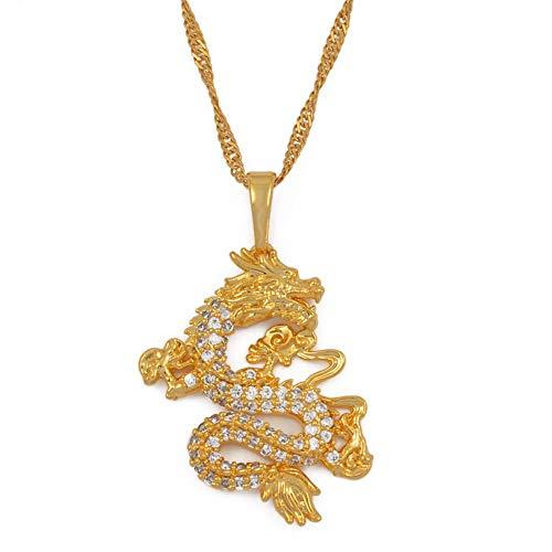 Cz Dragon Anhänger Halsketten Für Frauen Männer Gold Farbe Schmuck Kubische Zirkonia Maskottchen Ornamente Glück Symbol Geschenke #064004