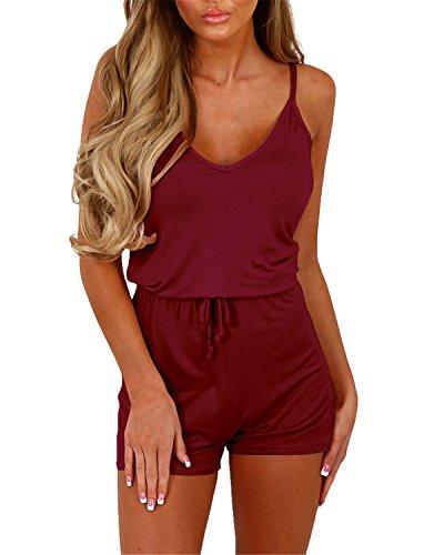 Auxo Damen Ärmellos V-Ausschnitt Sommer Strand Party Jumpsuit Overalls Kurz Hosen B- Rot Etikettgröße XL