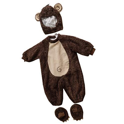 IPOTCH baby Strampler, Baby Mädchen Junge Spielanzug Flanell Baumwolle Winter Overall Tier Kostüme Hooded Bekleidung Outfits - Affe, 12-18 Monate (Baby Mädchen Affe Kostüm)