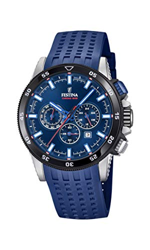 Festina Herren Chronograph Quarz Smart Watch Armbanduhr mit Silikon Armband F20353/3 - Uhren Festina