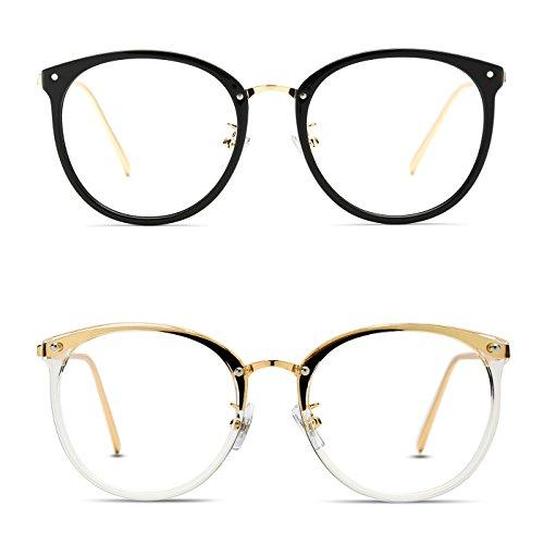 TIJN Damen Retro Runde Optische Brille Ohne Stärke Rahmen Brillenfassung 2er set