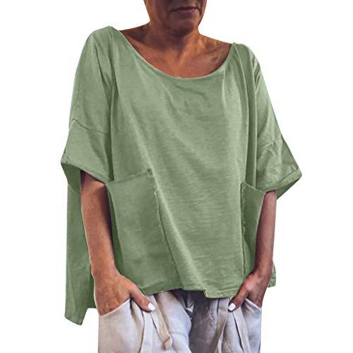 Frashing Damen Sommer Kurzarm Blusen Große Größen T-Shirt V-Ausschnitte Einfarbig Loose Oversize Shirt mit Doppeltasche Baggy Tunika Kleid Oberteile Lässige Bluse Tops -