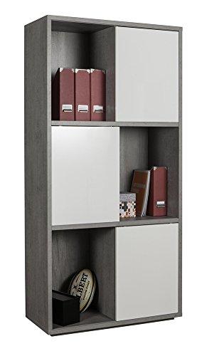 Libreria Con Ante Scorrevoli.Composad Libreria A Sei Vani Con Ante Scorrevoli Color Cemento E