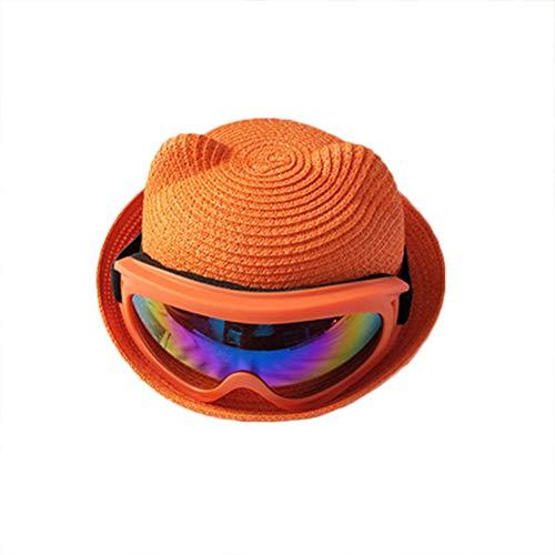 Drawihi Süß Kind Sonnenhut Fischer Strohhut Sommer Sommerhut UV Schutz mit Sonnenbrille 47-52cm (Orange)