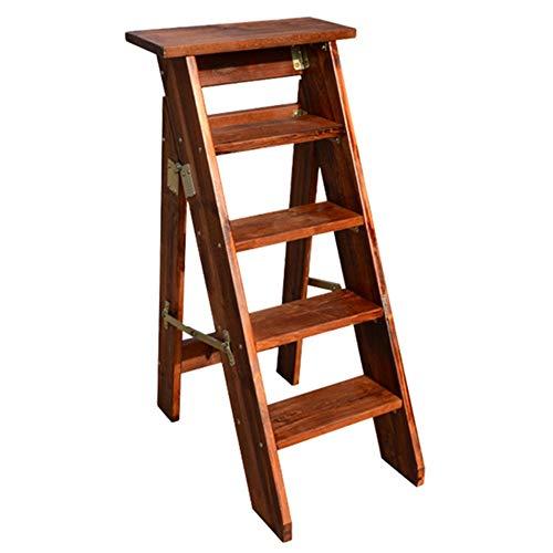 XAJGW Faltbarer Leiter-Stuhl des Haushalts-festen Holzes, Multifunktionsverdickung Doppelnutzung, 2 / 5steps (Farbe : Style A)
