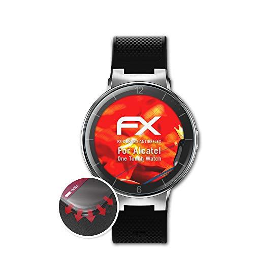 atFoliX Schutzfolie passend für Alcatel One Touch Watch Folie, entspiegelnde & Flexible FX Bildschirmschutzfolie (3X)
