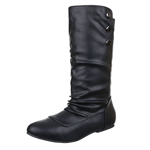 Komfortstiefel Damen Schuhe Klassischer Stiefel Blockabsatz Leicht Gefütterte Ital-Design Stiefel Schwarz