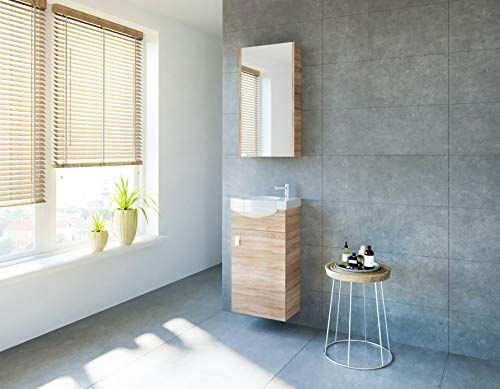 planetmoebel Badmöbel Set Gäste WC Waschtischunterschrank Keramikwaschbecken Spiegelschrank (Sonoma Eiche)