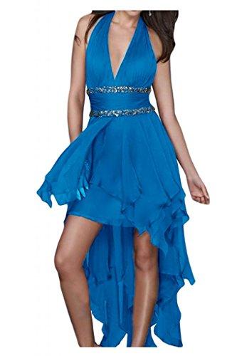 Toscane mariée chic dos hi-lo chiffon abendkleider de longueur fixe party ballkleider demoiselle dhonneur Bleu - Bleu