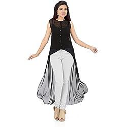 Ishin Georgette Black Party Wear Casual Wear Bollywood Solid New Collection Latest Design Trendy Women's Western Wear Top