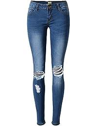 Blansdi Damen Mädchen Frauen Sommer Sexy Hohe Taille Distressed Ripped Gewaschene Jeans Boyfriend Dünn Denim Hose Loch Jeanshose