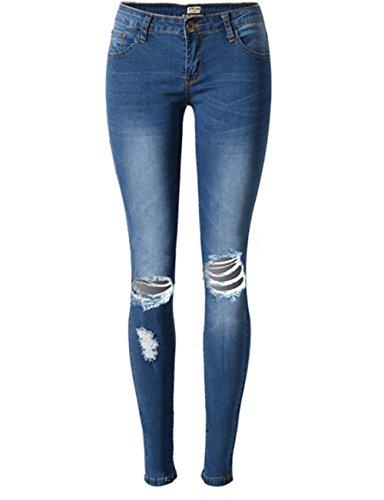 Sexy Distressed Jeans (Blansdi Damen Mädchen Frauen Sommer Sexy Hohe Taille Distressed Ripped Gewaschene Jeans Boyfriend Dünn Denim Hose Loch Jeanshose)