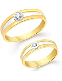 Vk Jewels Simple Single Gold Brass Alloy Cz American Diamond Couple Ring for Men And Women Vkcplfr1035G_16F_22M