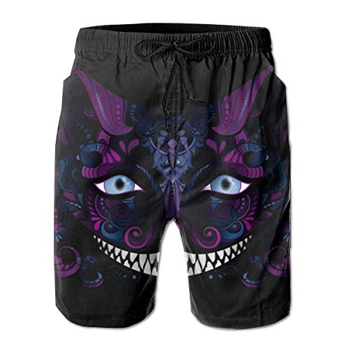 Cheshire Cat Grinsen Isoliert Fictional Animal Black Herren Jungen Kurze Badehose mit Netzfutter Quick Dry Herren Badeanzüge Badeshorts XL -
