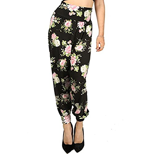 New Womens Ladies Floral Printed Ali Baba Bottoms Harem Pants Trousers  Leggings