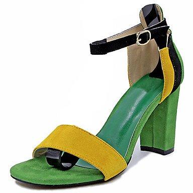 Zhenfu Sandalias De Goma Para Mujer Comfort Verano Camina Al Aire Libre Comfort Hebilla Chunky Heel Light Green Brown Under 1in Green