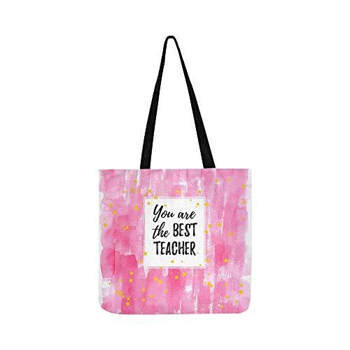 Sie Beste Lehrer Label Grußkarte Leinwand Tote Handtasche Schultertasche Crossbody Taschen Geldbörsen Für Männer Und Frauen Einkaufstasche