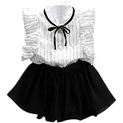 K-youth® Verano Chicas Rayas Camisa Gasa Culottes dos piezas Conjunto Ropa Niña Falda Traje 2018 Ofertas para 2-7 años (Blanco, 130)