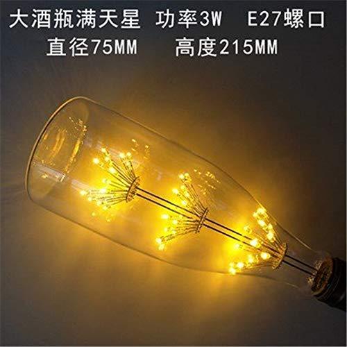 2 × Edison led birne e27 Schraube Persönlichkeit Energiesparlampen 3w Baum super Star kreative warme Farbe Glühbirne, 3, grosse Flasche Wein super Star, die warmen Gelb