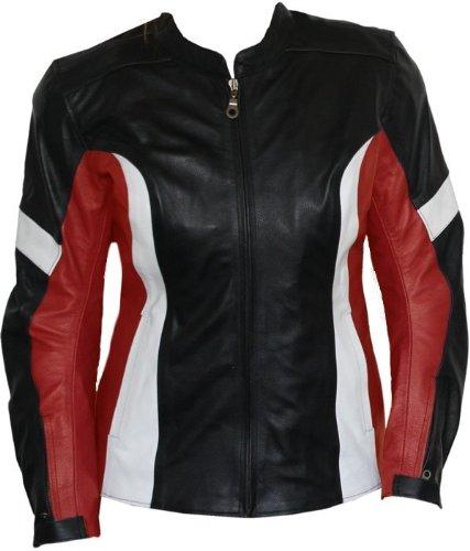 #Damen Lederjacke Motorradjacke aus Rindsleder Kombijacke Schwarz/Rot, Größe:XL#