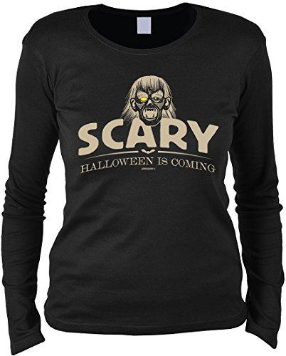 Halloween Langarmshirt Frau - Halloweenmotiv - Halloweenspruch : Scary Halloween is coming -- Damen Longsleeve Zombie Monster Gr: L