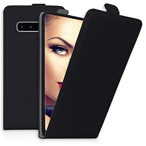 mtb more energy® Flip-Case Tasche für Samsung Galaxy S10 (SM-G973, 6.1'') | Schwarz | Kunstleder | Schutz-Tasche Cover Hülle
